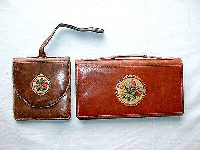 Beautiful Antique Austrian Pair of Matching Leather Shoulder Bag and Clutch Bag
