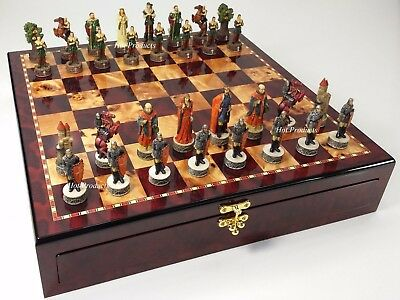 Medieval Times ROBIN HOOD Chess Set W/ Cherry Color STORAGE BOARD