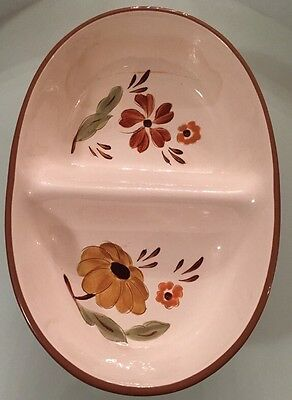 """Stangl """"First Love"""" Two-Section Serving Bowl, Oven Proof Hand Painted Trenton NJ"""