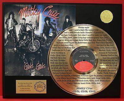 Motley Crue 24k Gold LP Record Etched Girls Girls Girls Lyrics - USA Ships Free