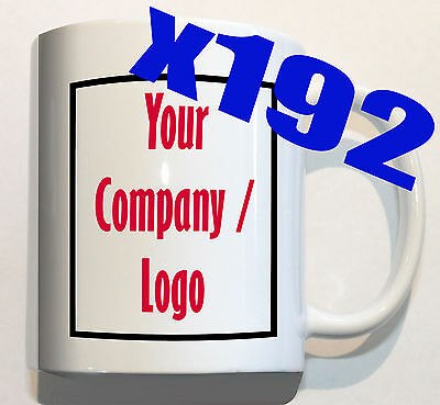 YOUR COMPANY LOGO on 192 mugs personalised corporate custom promotion
