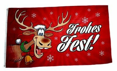 Flagge / Fahne Frohes Fest Elch Weihnachten rot Hissflagge 90 x 150 cm