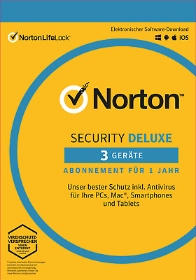 NORTON (Internet) SECURITY DELUXE 3-Geräte/1-Jahr 2018/2019 PC/Mac/Android / KEY
