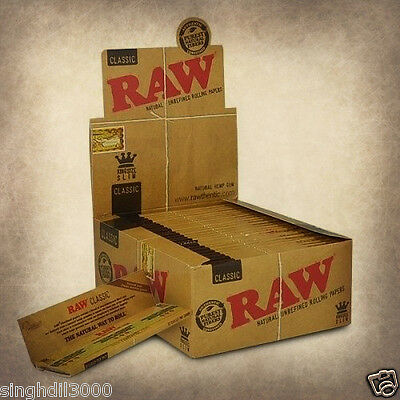 RAW Rolling Papers King Size Slim Classic Natural Unrefined Skins 110 mm Genuine