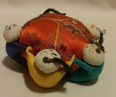 Vintage Japanese Style Old Silk Pin Cushion Sewing Asian Men Holding Hands