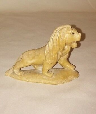 Antique Asian Old Rare Original Stone Marbel Hand Carved Seating Lion Figurine