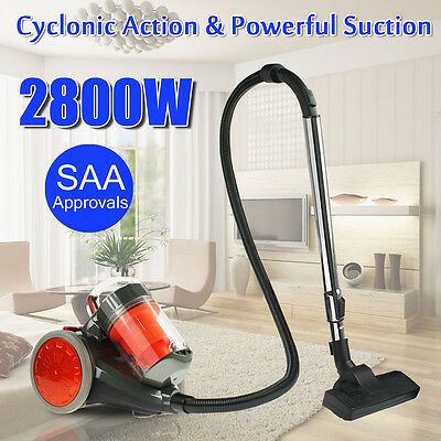 2800W Powful Bagless Vacuum Cleaner Cyclone Filtration System 2 Brush Water Wash