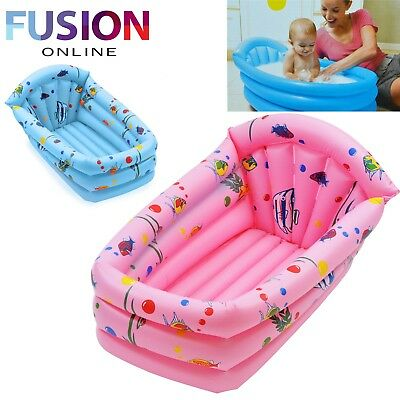 Inflatable Baby Bath Tub Childrens Kids Travel Infant Washing Wash Tub Pink Blue