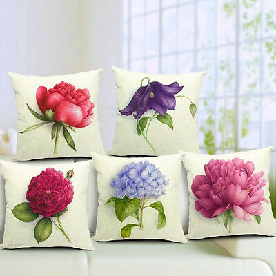 Vintage Linen Cotton Couch Sofa Cushion Cover Throw Pillow Rose 45X45 cm