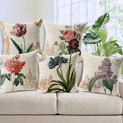 Vintage Linen Cotton Couch Sofa Cushion Cover Throw Pillow Flower 45X45 cm