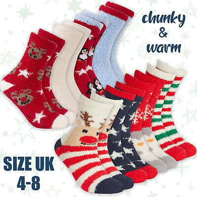 2 Pairs LADIES CHRISTMAS XMAS SOCKS Novelty Festive GIFT Cosy Soft Grippers NEW