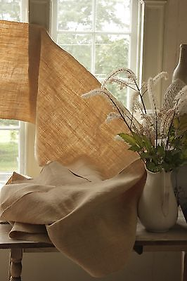 Linen homespun upholstery fabric Antique heavy weight old 17 YARDS natural