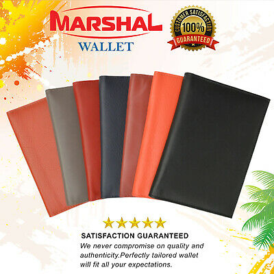 Genuine Premium Leather Marshal Passport Cover Holder Wallet Travel Case