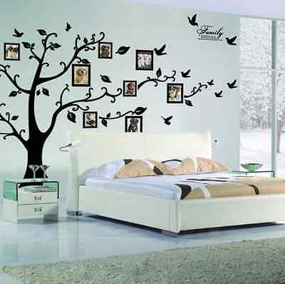 Family Tree Large Photo Picture Frame Removable Wall Sticker Decor Decal Black