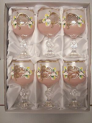 Set of 6 Pink Bohemian Crystal Wine Glasses
