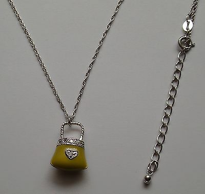 Girl's Sterling Silver Enamel Heart Purse Pendant Rope Chain Necklace New