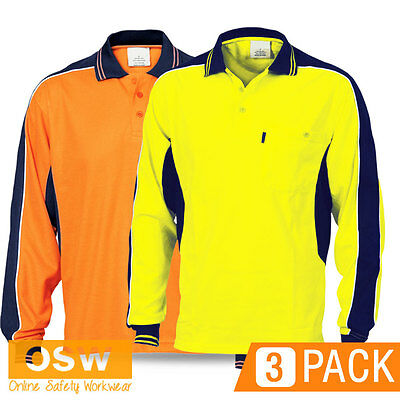 3 X Hi Vis Poly Cotton Contrast Long Sleeve Polo Orange/yellow Workwear Shirt