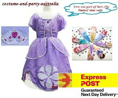 S1 Disney Sofia The First Princess Children Girls Kids Costume SET Dress+Tiara