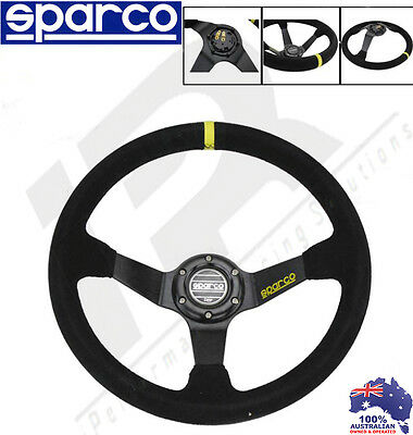 Sparco Style 350mm Black Suede Leather Deep Dish Drift Racing Steering Wheel