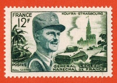 1954::timbre France Neuf**marechal Leclerc-Cathedrale Strasbourg**stamp.y/t 984