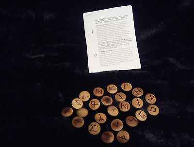 Hand Crafted Wooden Pyrographed Runes & Info Leaflet. Wicca, Pagan, Witch, Druid