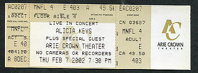 2002 Alicia Keys Unused Full Concert Ticket Arie Crown Chicago Songs In A Minor