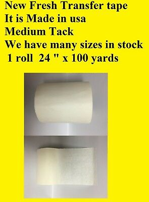 "1 Roll 24"" x 100 Yards Application Transfer Tape Vinyl Signs Adhesive Made InUsa"
