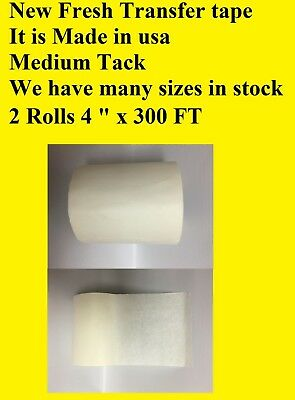 "2 Roll 4"" x 300 Feet  Application Transfer Tape Vinyl Sign Adhesive Made In Usa"