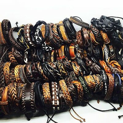 wholesale 100pcs/lot mix styles men's leather surfer handmade cuff bracelets
