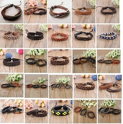 wholesale bulk lots 30PCs mixed styles leather vintage Ethnic Tribal bracelets