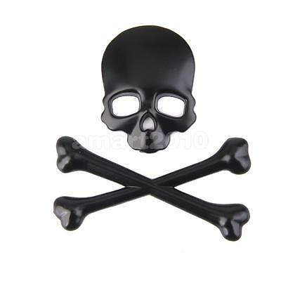 3D Black Skull CrossBones Car Motor Auto Metal Emblem Badge Decal Sticker