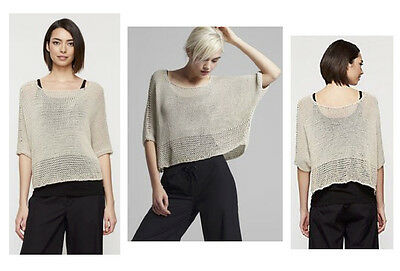 $238 Eileen Fisher Open Cotton Rope Bateau Neck Fisher Project Oval Sweater Top