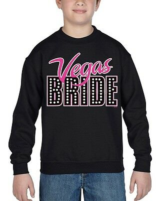 Vegas Bride Youth Crewneck Wedding Marriage Bachelorette Party Sweatshirts