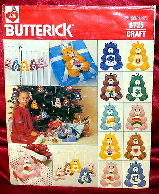 NEW UNCUT Butterick 6725 Vintage Care Bears Christmas Ornaments Template EASY