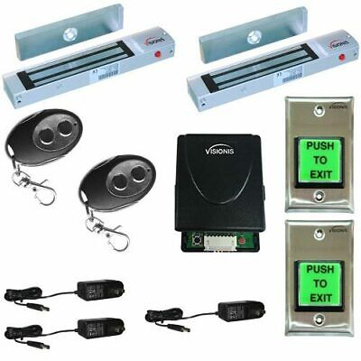 Two Door Maglock 300lbs Vsionis Access Control Kit with Wireless Receiver Remote