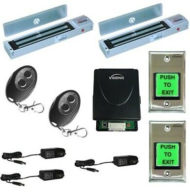 Two Door Maglock 600lbs Vsionis Access Control Kit with Wireless Receiver Remote