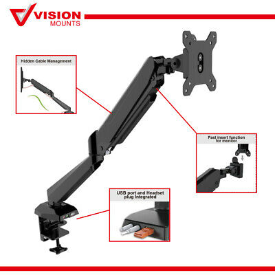 "Vision Mounts VM-GM212U Gas Spring Monitor Arm USB Port up to 27"" 8KG Clamp VESA"