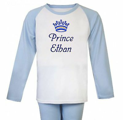 Personalised Embroidered 100% Cotton Pyjamas - Blue. Christmas Present/Gift