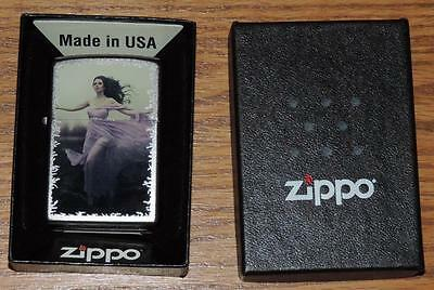 Nib Usa Zippo Cigarette Lighter Satin Chrome - Flowing Dress Girl - Bradford, Pa