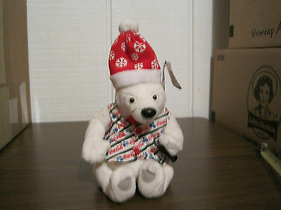 1999 Collectible Coca Cola Brand Bean Bag Plush Polar Bear