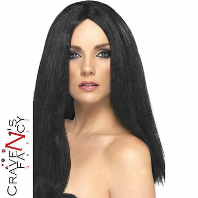 Smiffys Star Style Long Black Straight Cher Wig Witch Halloween Celebrity 80's