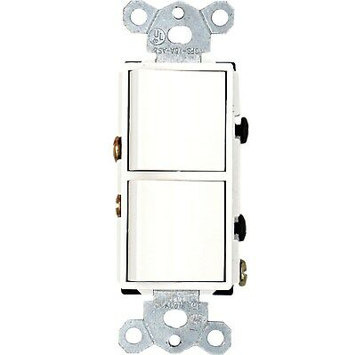 Decora Dual double rocker switch Single Pole 120V 15Amp Grounding UL CUL -White