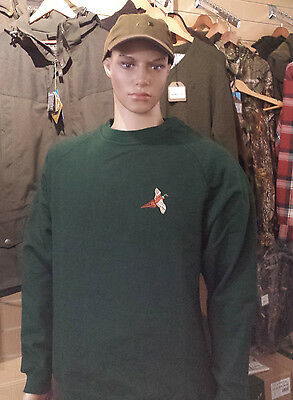 Round Neck Green Jumper with Embroidered Pheasant Logo