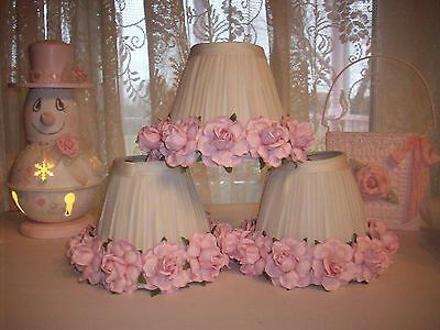 Small Pink Rose Lamp Shades For Single Lamps, Candle Lamps, Chandelier Lamps