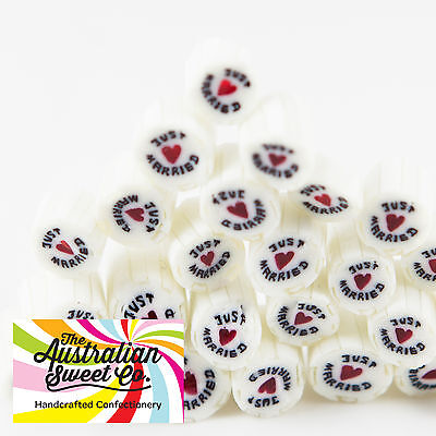 Just Married Rock Candy Bulk Lollies Wedding Favours Birthday Party Valentine