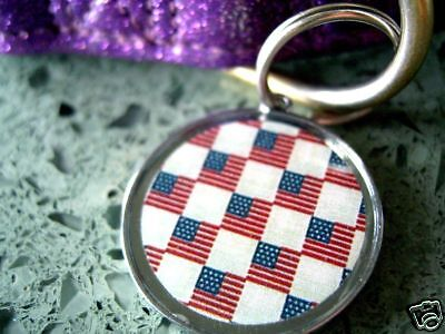 Patriotic USA Flag Red White Blue Pet ID Tags Dog Cat Tag Charms Large