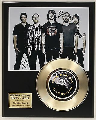 Foo Fighters - 24k Gold Record & Autographed Reprinted Photo - USA Ships Free