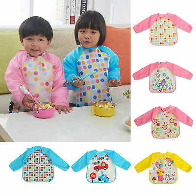 Baby Toddler Waterproof Long Sleeve Bib Feeding Apron 11 Colors Dribble With Tie