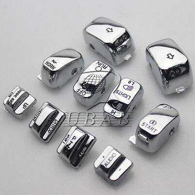 Chrome Embossed Audio Cruise Hand Control Switch Housing Button Cap Harley 96-13