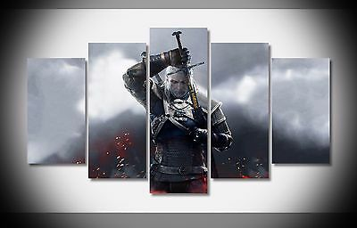 6741 the witcher 3 warrior sword Poster framed art print wall home decor Stretch